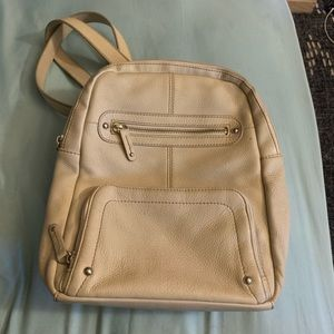 Leather Backpack with lots of pockets.